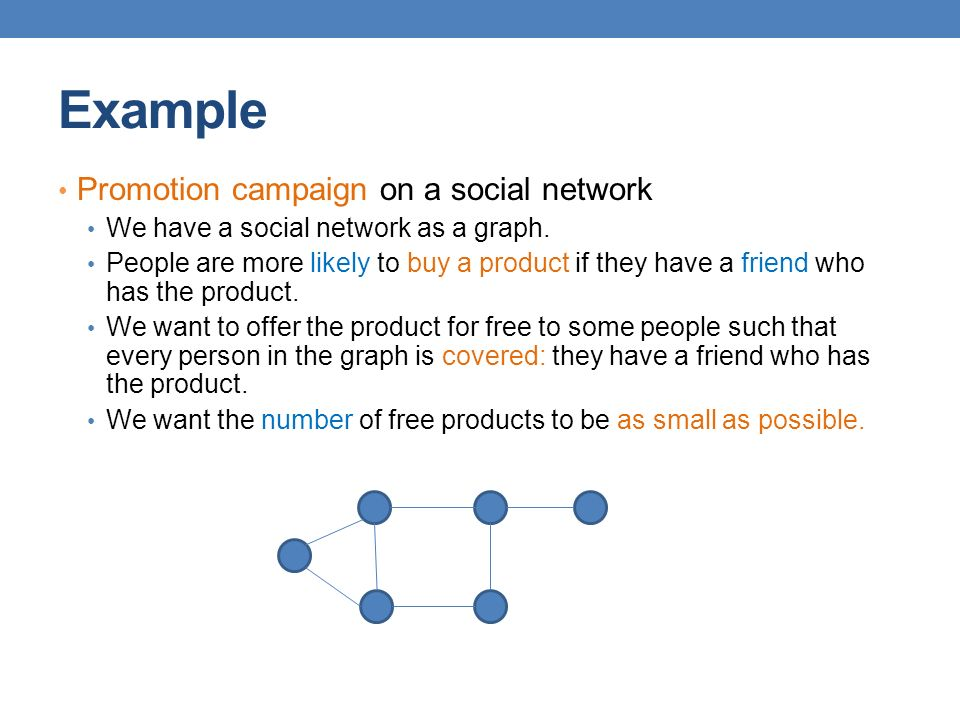 Example Promotion campaign on a social network We have a social network as a graph.