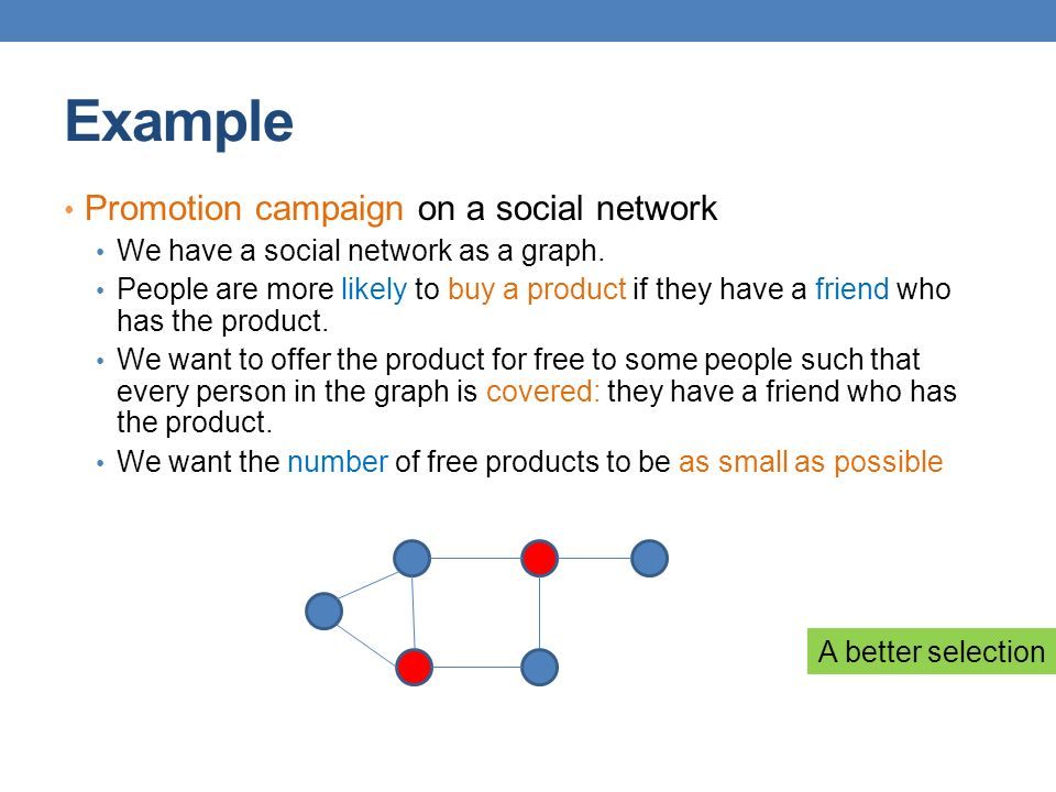 Example A better selection Promotion campaign on a social network We have a social network as a graph.