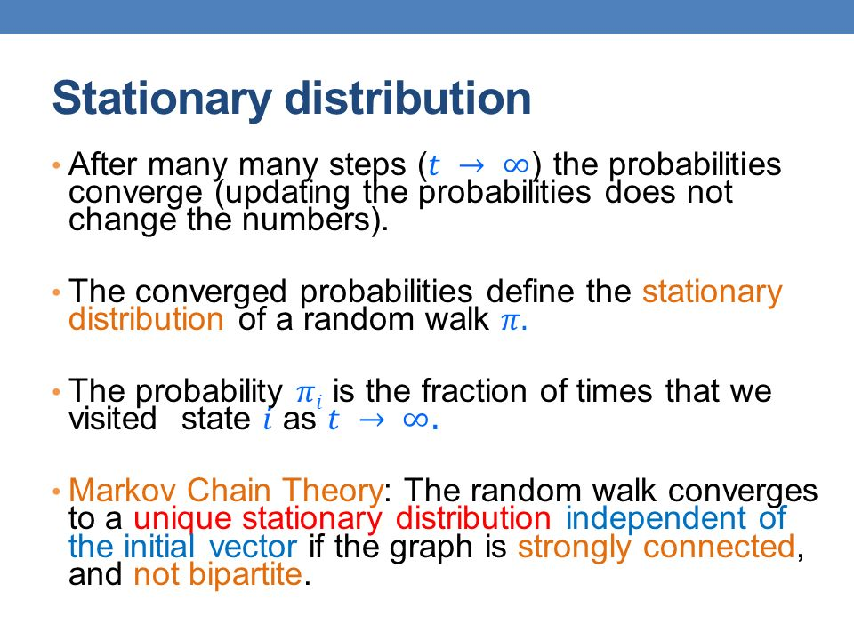 Random walk with Restarts This is the random walk used by the PageRank algorithm At every step with probability 1-α do a step of the random walk (follow a random link).