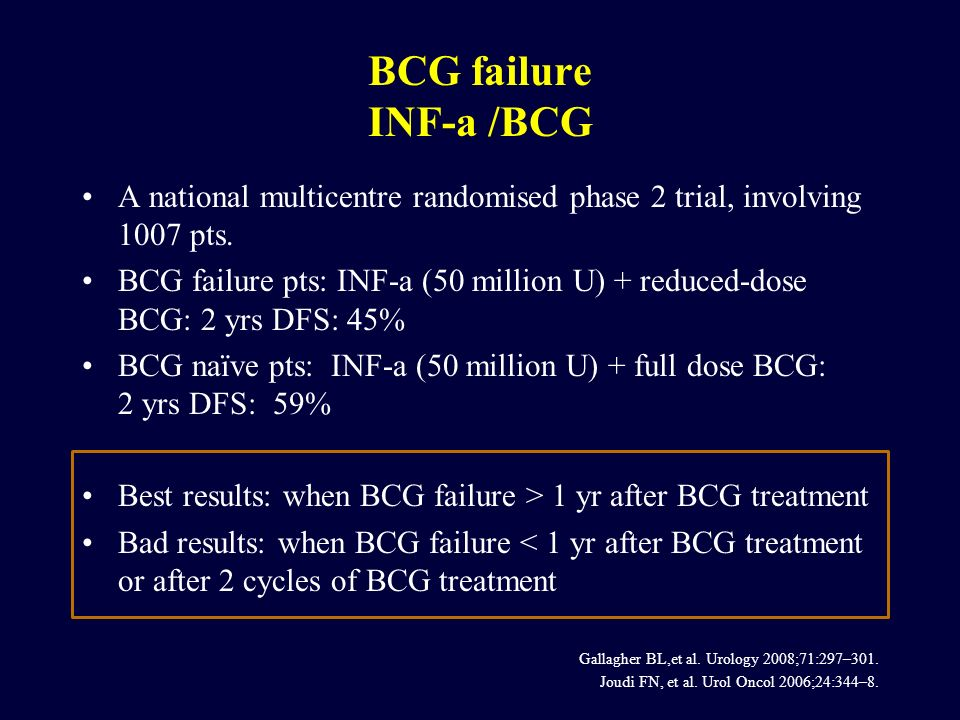 A national multicentre randomised phase 2 trial, involving 1007 pts. BCG failure pts: INF-a (50 million U) + reduced-dose BCG: 2 yrs DFS: 45% BCG naïv