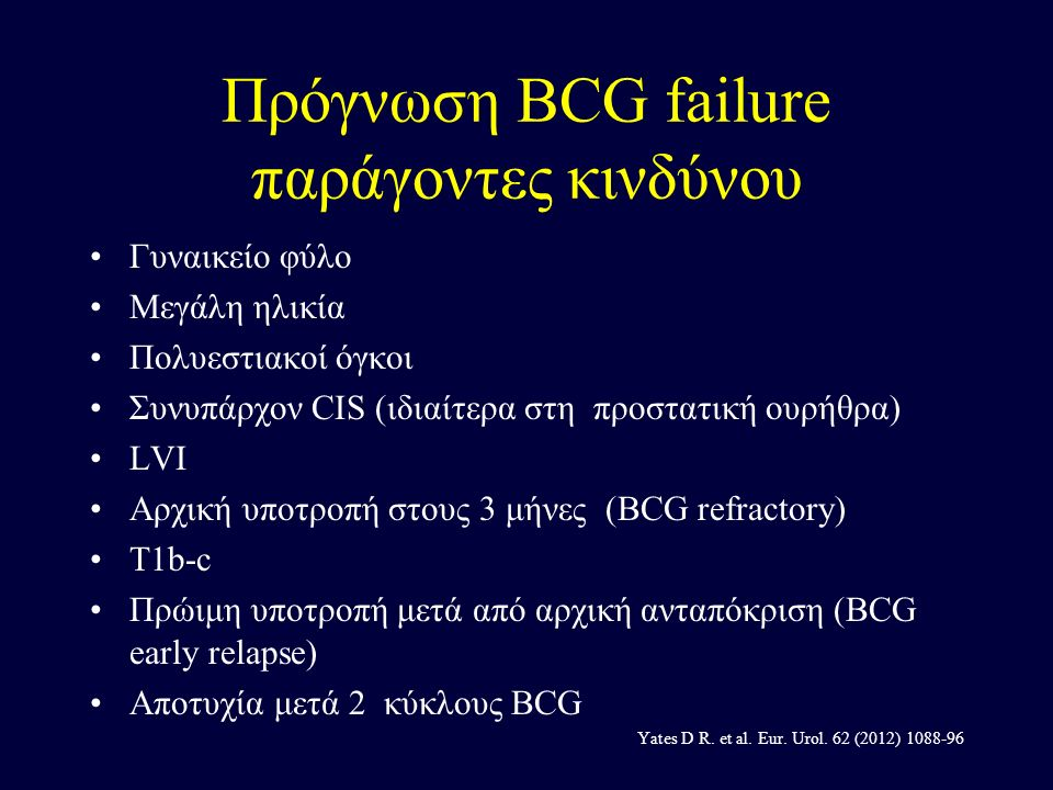 BCG FAILURE Early vs.delayed cystectomy H. HERR AND P.C.