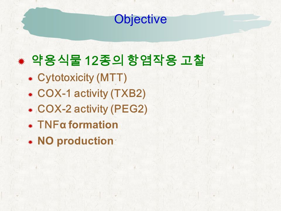 Objective  약용식물 12 종의 항염작용 고찰  Cytotoxicity (MTT)  COX-1 activity (TXB2)  COX-2 activity (PEG2)  TNFα formation  NO production