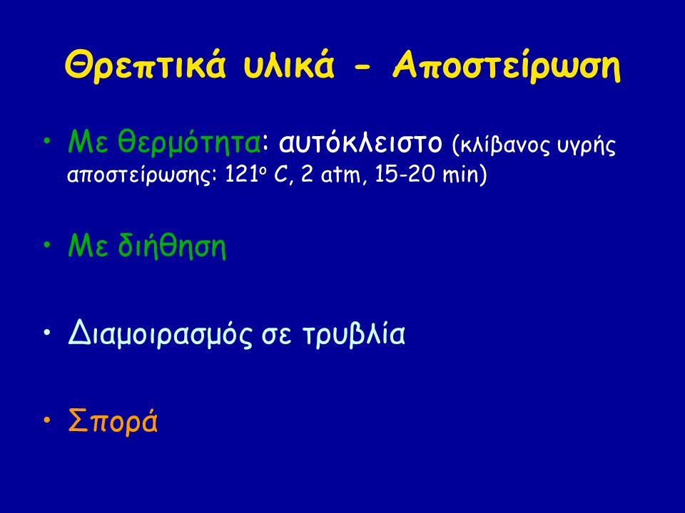 Θρεπτικά υλικά - Αποστείρωση Με θερμότητα: αυτόκλειστο (κλίβανος υγρής αποστείρωσης: 121 ο C, 2 atm, 15-20 min) Με διήθηση Διαμοιρασμός σε τρυβλία Σπο