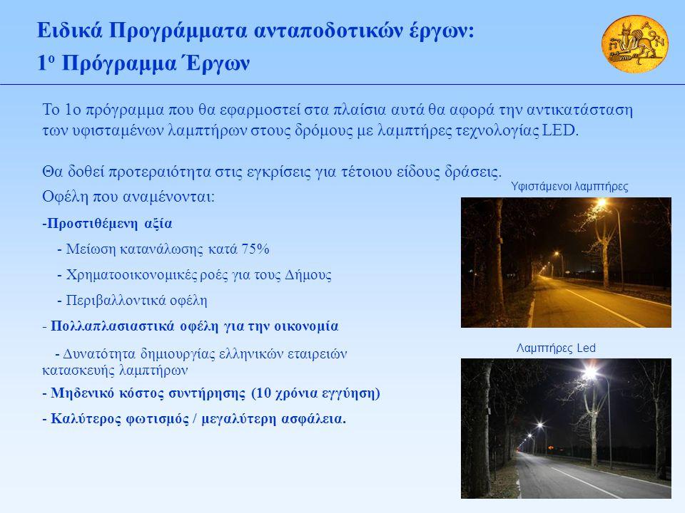 Ειδικά Προγράμματα ανταποδοτικών έργων: 1 ο Πρόγραμμα Έργων Το 1ο πρόγραμμα που θα εφαρμοστεί στα πλαίσια αυτά θα αφορά την αντικατάσταση των υφισταμένων λαμπτήρων στους δρόμους με λαμπτήρες τεχνολογίας LED.