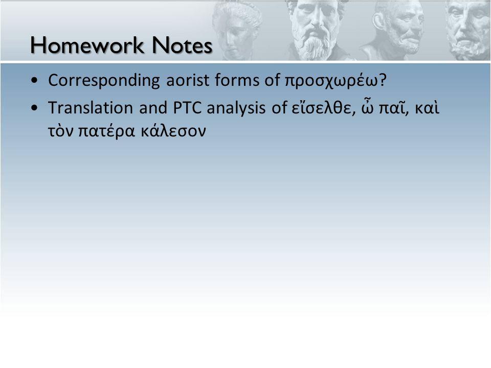 Homework Notes Corresponding aorist forms of προσχωρέω? Translation and PTC analysis of εἴσελθε, ὦ παῖ, καὶ τὸν πατέρα κάλεσον