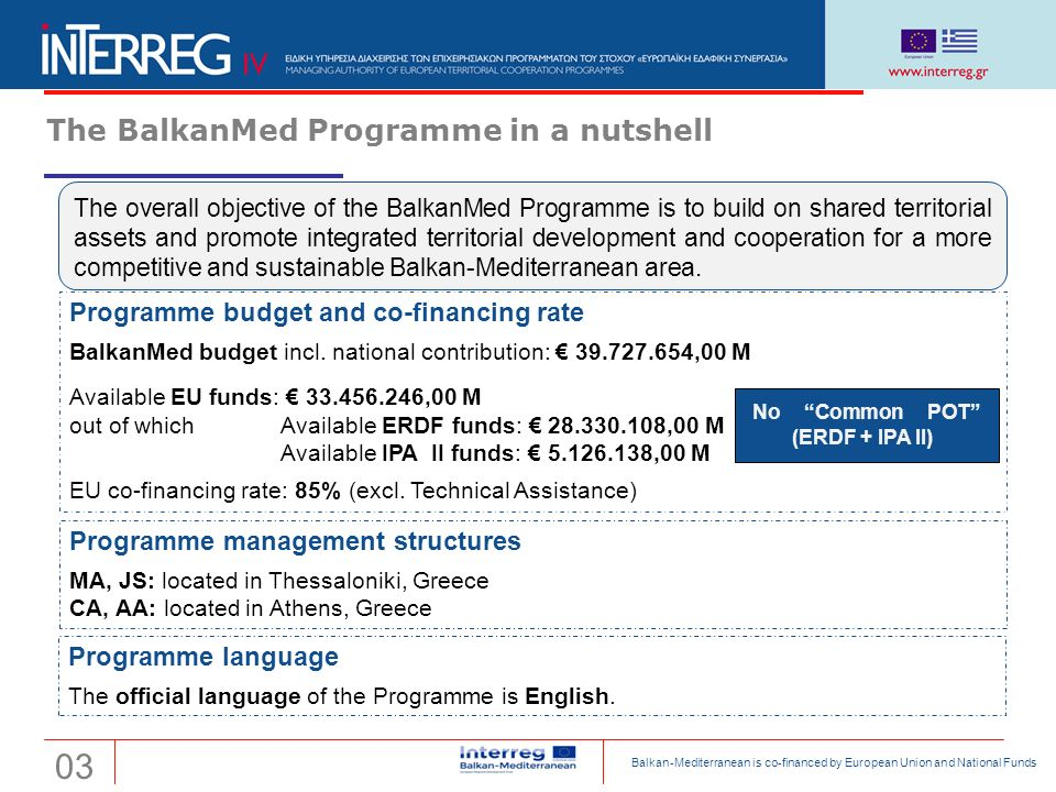 Transnational Cooperation Programme Interreg 'Balkan-Mediterranean 2014-2020' The BalkanMed Programme in a nutshell The overall objective of the Balka