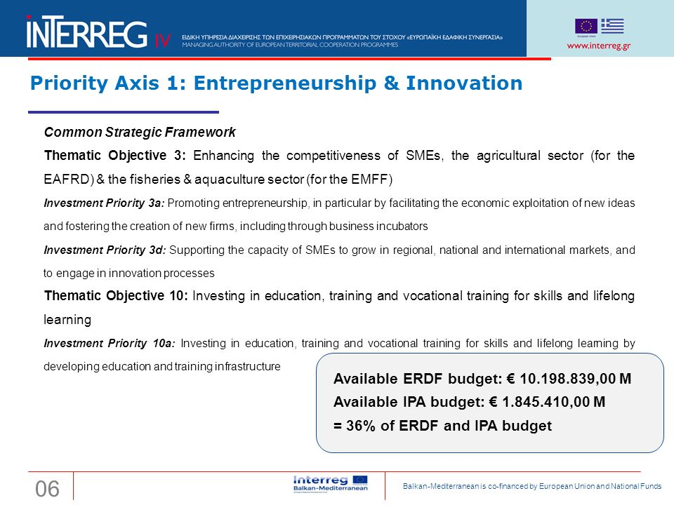 Transnational Cooperation Programme Interreg 'Balkan-Mediterranean 2014-2020' Priority Axis 1: Entrepreneurship & Innovation Available ERDF budget: € 10.198.839,00 M Available IPA budget: € 1.845.410,00 M = 36% of ERDF and IPA budget Common Strategic Framework Thematic Objective 3: Enhancing the competitiveness of SMEs, the agricultural sector (for the EAFRD) & the fisheries & aquaculture sector (for the EMFF) Investment Priority 3a: Promoting entrepreneurship, in particular by facilitating the economic exploitation of new ideas and fostering the creation of new firms, including through business incubators Investment Priority 3d: Supporting the capacity of SMEs to grow in regional, national and international markets, and to engage in innovation processes Thematic Objective 10: Investing in education, training and vocational training for skills and lifelong learning Investment Priority 10a: Investing in education, training and vocational training for skills and lifelong learning by developing education and training infrastructure 06 Balkan-Mediterranean is co-financed by European Union and National Funds
