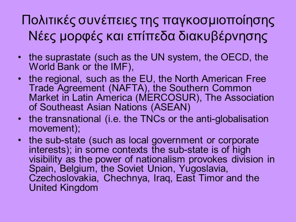 Πολιτικές συνέπειες της παγκοσμιοποίησης Νέες μορφές και επίπεδα διακυβέρνησης the suprastate (such as the UN system, the OECD, the World Bank or the IMF), the regional, such as the EU, the North American Free Trade Agreement (NAFTA), the Southern Common Market in Latin America (MERCOSUR), The Association of Southeast Asian Nations (ASEAN) the transnational (i.e.