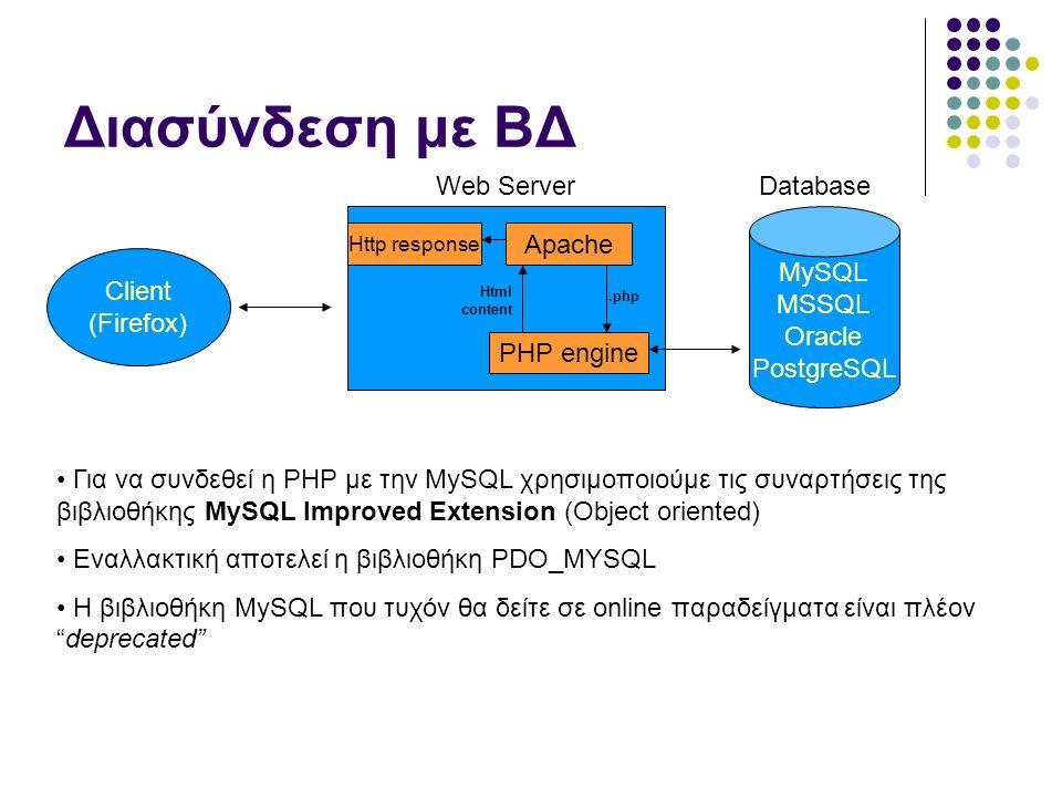 Διασύνδεση με ΒΔ Client (Firefox) PHP engine Apache.php Html content Http response MySQL MSSQL Oracle PostgreSQL Web ServerDatabase Για να συνδεθεί η PHP με την MySQL χρησιμοποιούμε τις συναρτήσεις της βιβλιοθήκης MySQL Improved Extension (Object oriented) Εναλλακτική αποτελεί η βιβλιοθήκη PDO_MYSQL Η βιβλιοθήκη MySQL που τυχόν θα δείτε σε online παραδείγματα είναι πλέον deprecated