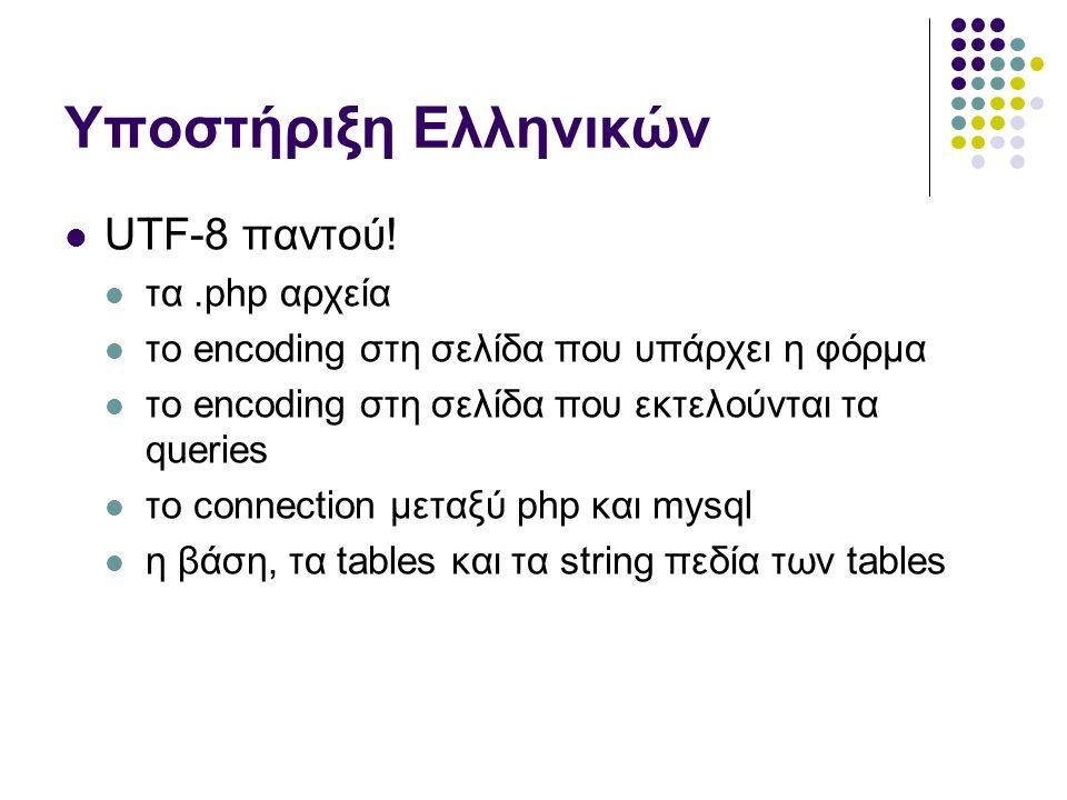 Υποστήριξη Ελληνικών UTF-8 παντού.