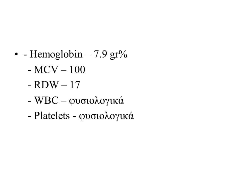 - Hemoglobin – 7.9 gr% - MCV – 100 - RDW – 17 - WBC – φυσιολογικά - Platelets - φυσιολογικά