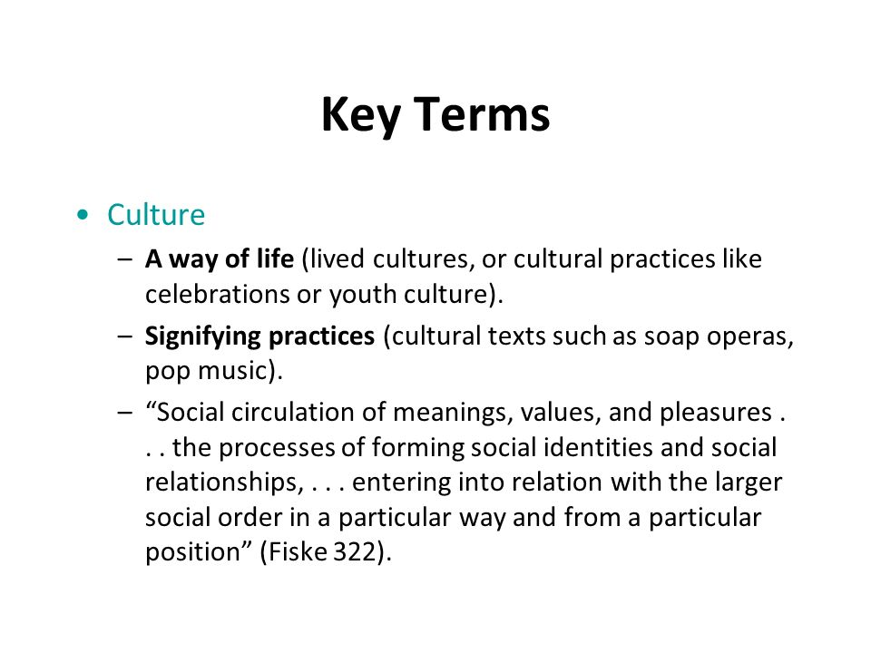 Key Terms Culture –A way of life (lived cultures, or cultural practices like celebrations or youth culture).