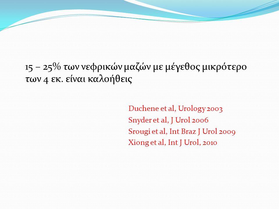 Outcomes of case series dealing with NSS for renal masses >7cm (pT2) AuthorPatientsMedian follow up, mo Overall survival at 5 years, % Overall survival at 10 years, % Median tumor size, cm Long et al4913,194,570,98,7 Becker et al912888-8 Karellas et al 371777-7,5 Breau et al573875-7,5 Jelders et al295484-8,5 Peycelon et al 167066-8,4 Hafez et al504782-9,9