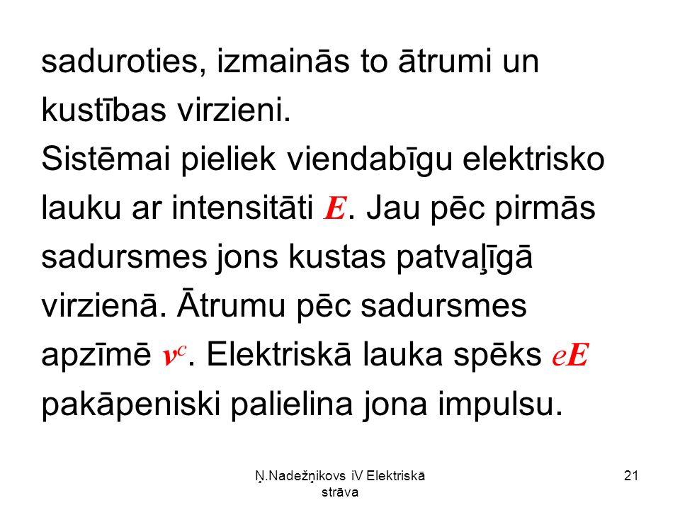 Ņ.Nadežņikovs iV Elektriskā strāva 21 saduroties, izmainās to ātrumi un kustības virzieni.