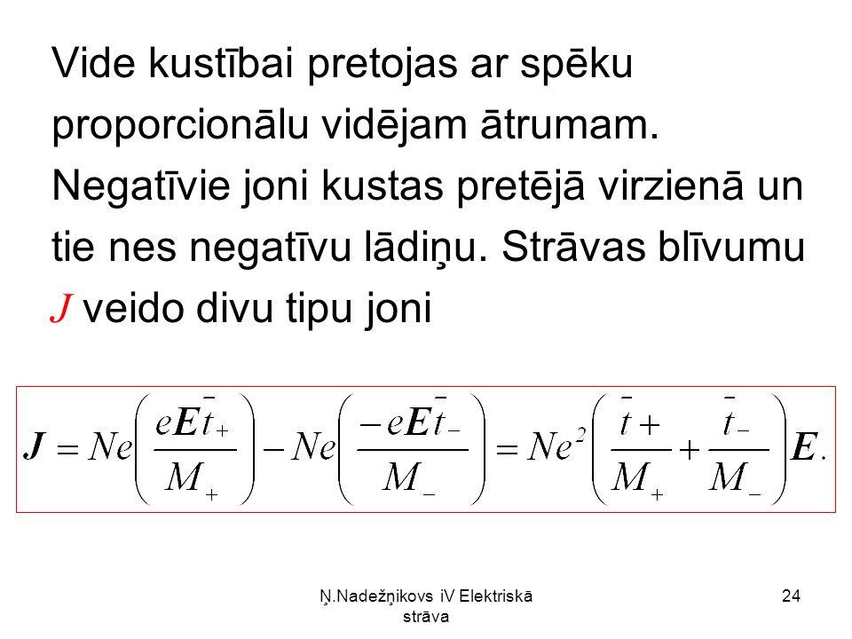 Ņ.Nadežņikovs iV Elektriskā strāva 24 Vide kustībai pretojas ar spēku proporcionālu vidējam ātrumam.