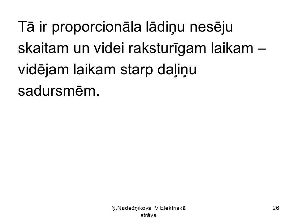 Ņ.Nadežņikovs iV Elektriskā strāva 26 Tā ir proporcionāla lādiņu nesēju skaitam un videi raksturīgam laikam – vidējam laikam starp daļiņu sadursmēm.