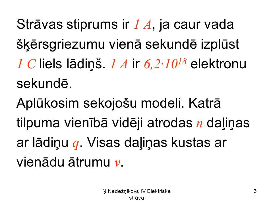 Ņ.Nadežņikovs iV Elektriskā strāva 3 Strāvas stiprums ir 1 A, ja caur vada šķērsgriezumu vienā sekundē izplūst 1 C liels lādiņš.