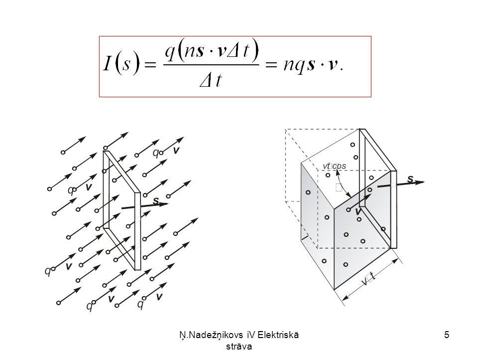 Ņ.Nadežņikovs iV Elektriskā strāva 16 šķērsgriezuma laukuma S un materiāla īpatnējās pretestības ρ.