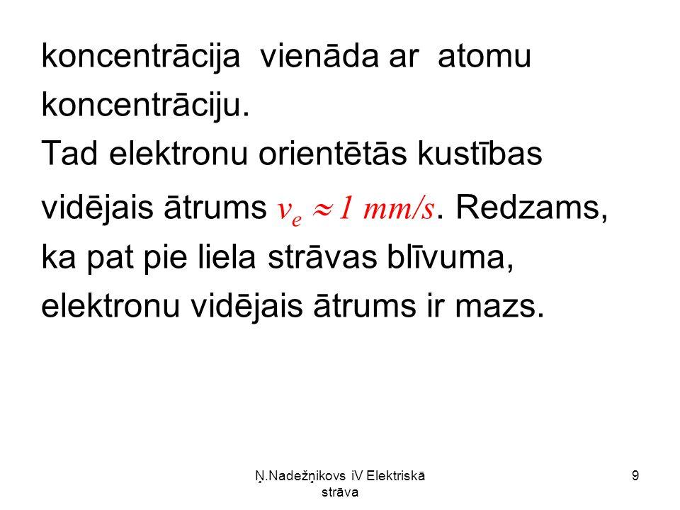 Ņ.Nadežņikovs iV Elektriskā strāva 30 Ja N ir elektronu skaits tilpuma vienībā, tad strāvas blīvums Tātad metālu vadītspēja