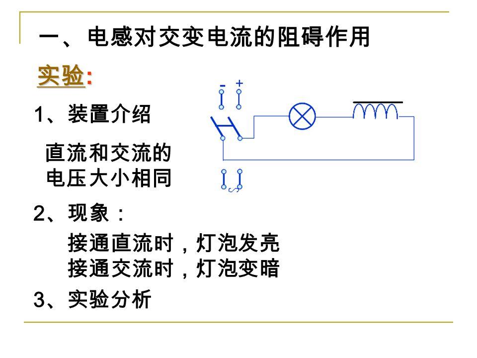 实验 实验 : 实验 2 、现象: 3 、实验分析 直流和交流的 电压大小相同 一、电感对交变电流的阻碍作用 1 、装置介绍 接通直流时,灯泡发亮 接通交流时,灯泡变暗