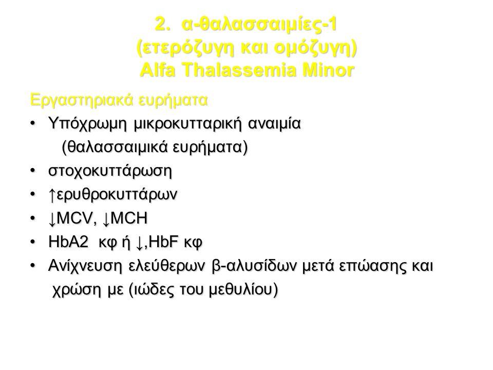 2. α-θαλασσαιμίες-1 (ετερόζυγη και ομόζυγη) Alfa Thalassemia Minor Εργαστηριακά ευρήματα Υπόχρωμη μικροκυτταρική αναιμίαΥπόχρωμη μικροκυτταρική αναιμί