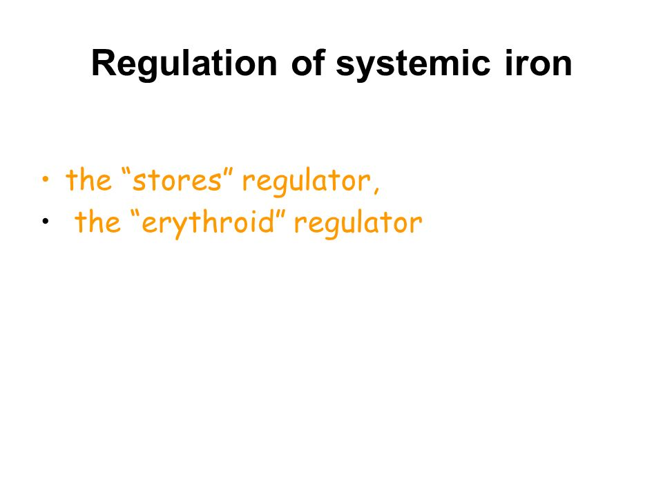 "Regulation of systemic iron the ""stores"" regulator, the ""erythroid"" regulator"