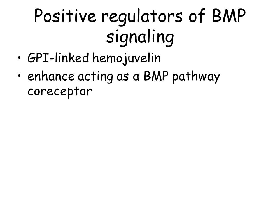 Positive regulators of BMP signaling GPI-linked hemojuvelin enhance acting as a BMP pathway coreceptor