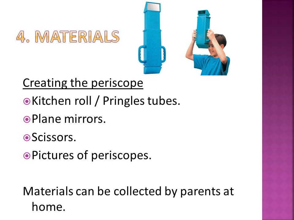 Creating the periscope  Kitchen roll / Pringles tubes.