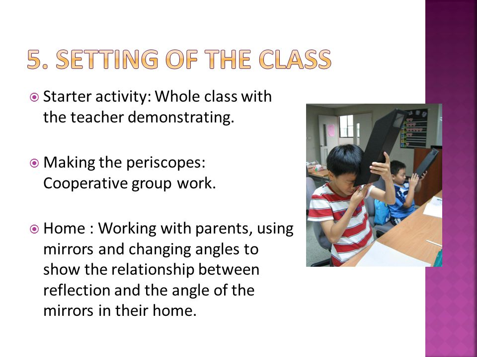 Space :  Demonstration inside the classroom.