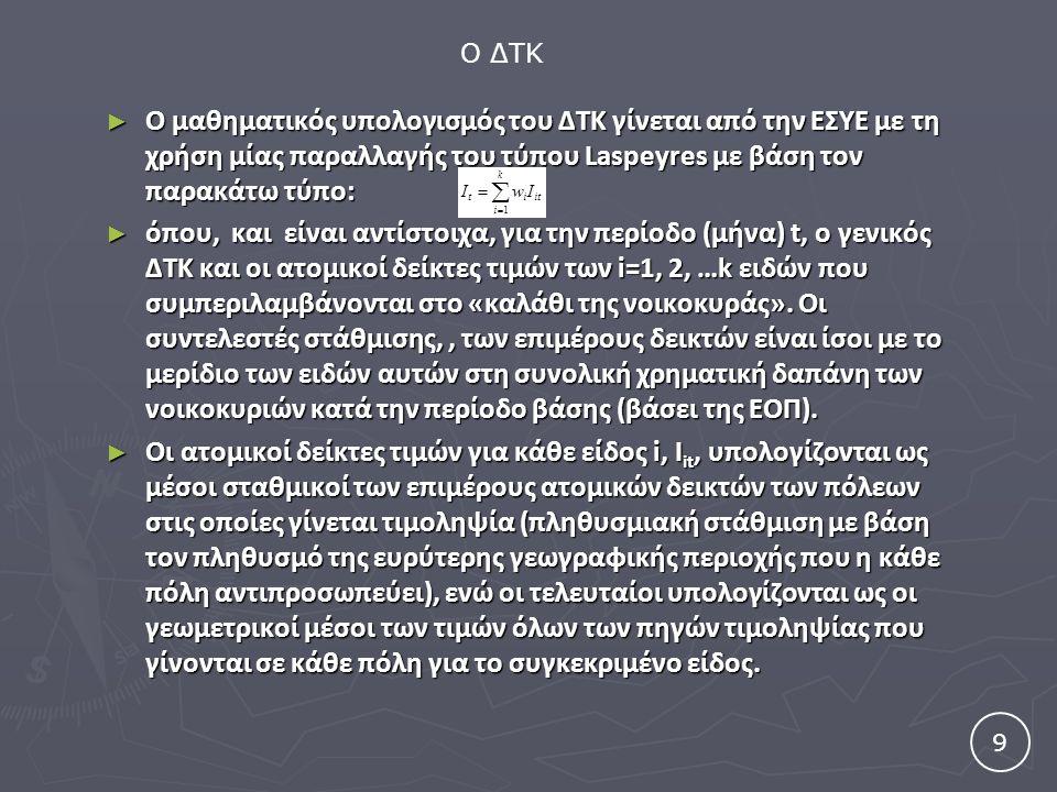 ► Ο μαθηματικός υπολογισμός του ΔΤΚ γίνεται από την ΕΣΥΕ με τη χρήση μίας παραλλαγής του τύπου Laspeyres με βάση τον παρακάτω τύπο: ► όπου, και είναι αντίστοιχα, για την περίοδο (μήνα) t, ο γενικός ΔΤΚ και οι ατομικοί δείκτες τιμών των i=1, 2, …k ειδών που συμπεριλαμβάνονται στο «καλάθι της νοικοκυράς».