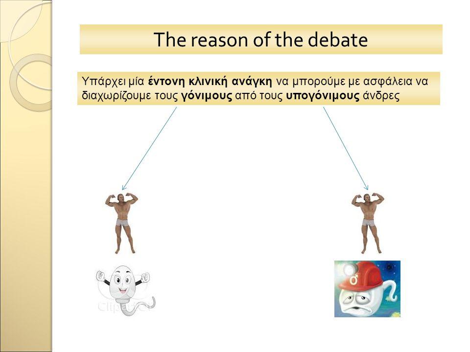 The reason of the debate Υπάρχει μία έντονη κλινική ανάγκη να μπορούμε με ασφάλεια να διαχωρίζουμε τους γόνιμους από τους υπογόνιμους άνδρες