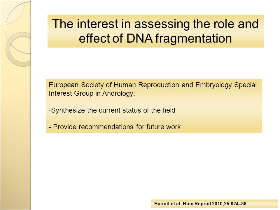 The interest in assessing the role and effect of DNA fragmentation European Society of Human Reproduction and Embryology Special Interest Group in And