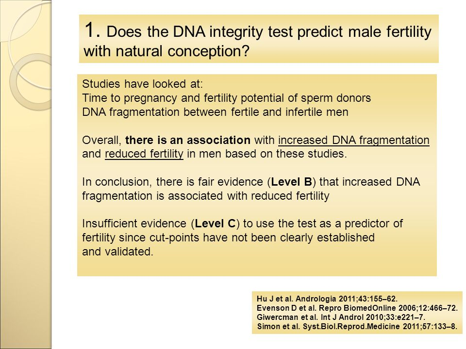 1. Does the DNA integrity test predict male fertility with natural conception.