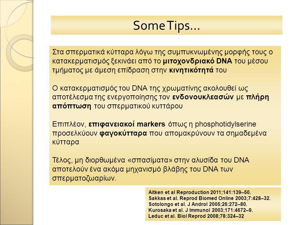 Some Tips… Στα σπερματικά κύτταρα λόγω της συμπυκνωμένης μορφής τους ο κατακερματισμός ξεκινάει από το μιτοχονδριακό DNA του μέσου τμήματος με άμεση ε
