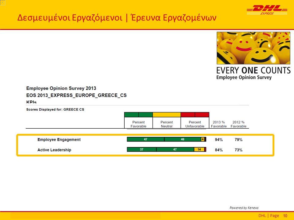 DHL | PageΕθνικά Βραβεία Εξυπηρέτησης Πελατών | Αθήνα | 16 Δεκεμβρίου 2013 10 Δεσμευμένοι Εργαζόμενοι | Έρευνα Εργαζομένων Powered by Kenexa