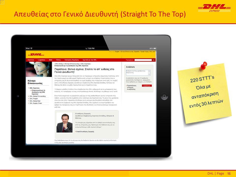 DHL | PageΕθνικά Βραβεία Εξυπηρέτησης Πελατών | Αθήνα | 16 Δεκεμβρίου 2013 16 Απευθείας στο Γενικό Διευθυντή (Straight To The Top) 220 STTT's Όλα με ανταπόκριση εντός 30 λεπτών