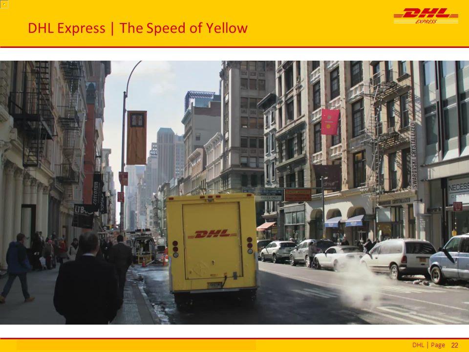 DHL | PageΕθνικά Βραβεία Εξυπηρέτησης Πελατών | Αθήνα | 16 Δεκεμβρίου 2013 22 DHL Express | The Speed of Yellow