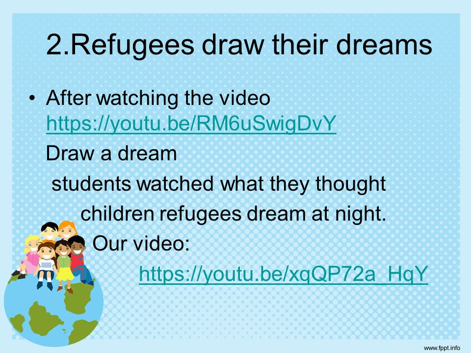 2.Refugees draw their dreams After watching the video https://youtu.be/RM6uSwigDvY https://youtu.be/RM6uSwigDvY Draw a dream students watched what they thought children refugees dream at night.