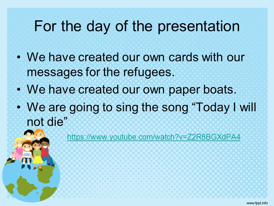 For the day of the presentation We have created our own cards with our messages for the refugees.