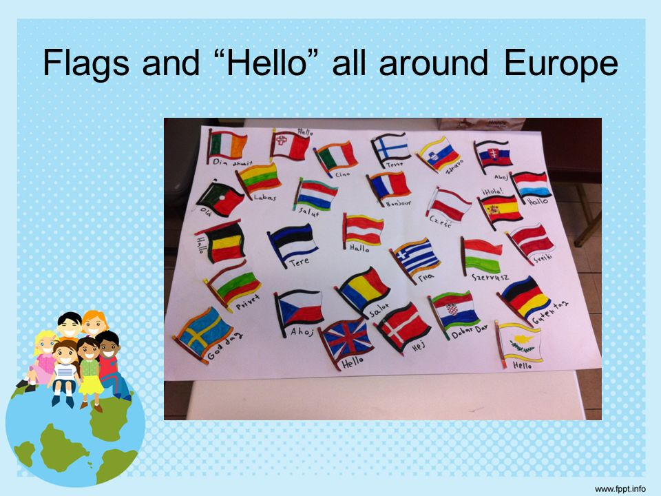 "Flags and ""Hello"" all around Europe"