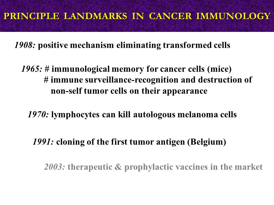1965: # immunological memory for cancer cells (mice) # immune surveillance-recognition and destruction of non-self tumor cells on their appearance 1908: positive mechanism eliminating transformed cells 1970: lymphocytes can kill autologous melanoma cells 1991: cloning of the first tumor antigen (Belgium) 2003: therapeutic & prophylactic vaccines in the market PRINCIPLE LANDMARKS IN CANCER IMMUNOLOGY