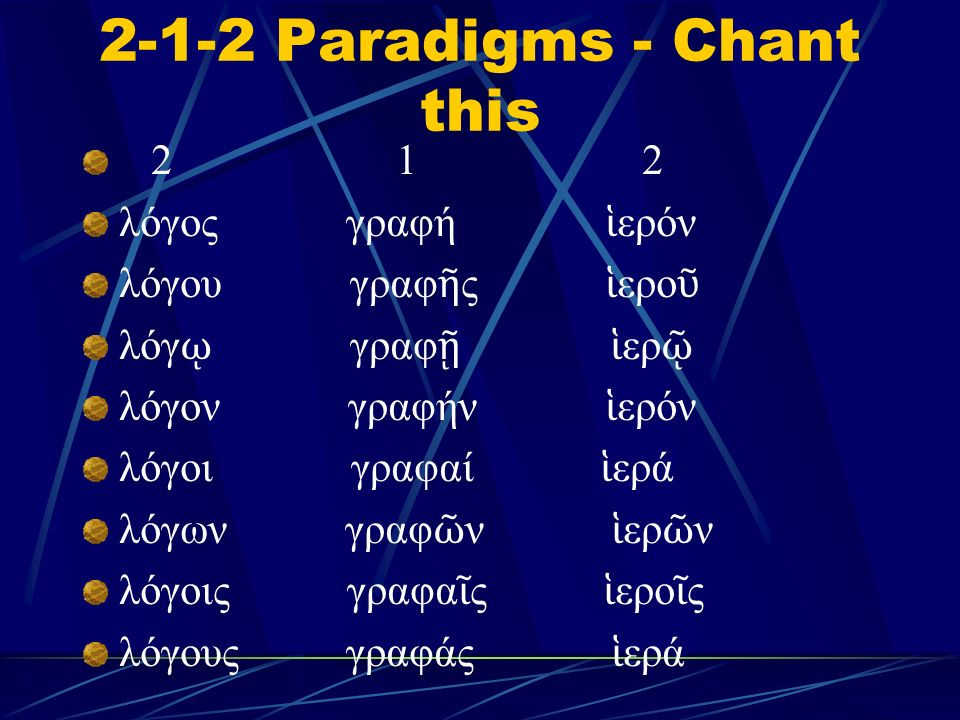 1st Aorist Middle Paradigm Singular Plural ἐ λυσάμην ἐ λυσάμεθα I loosed for myself we loosed for ourselves ἐ λύσω ἐ λύσασθε you loosed for yourself you all loosed for yourselves ἐ λύσατο ἐ λύσαντο s/he/it loosed for himself they loosed for themselves Chant: ἐ λυσάμην: -ω, -ατο, -αμεθα, -ασθε, -αντο