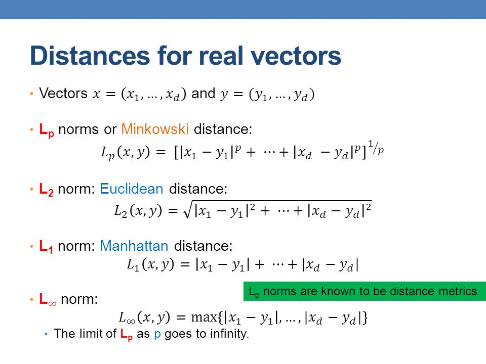 Distances for real vectors L p norms are known to be distance metrics