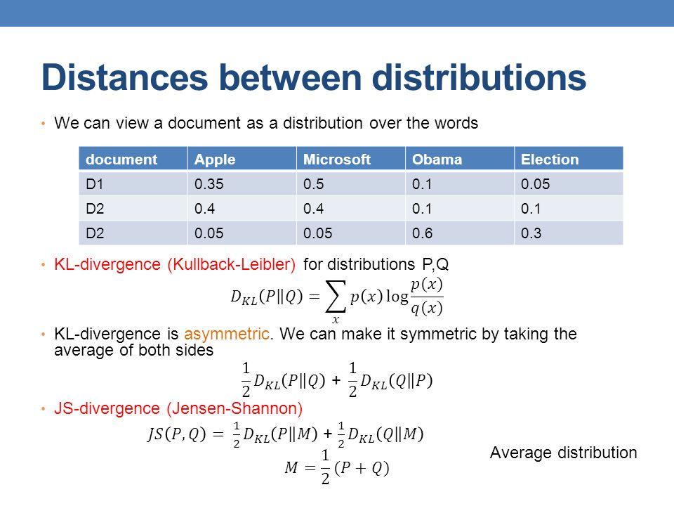 Distances between distributions documentAppleMicrosoftObamaElection D10.350.50.10.05 D20.4 0.1 D20.05 0.60.3 Average distribution