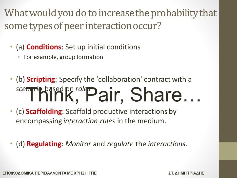 ΕΠΟΙΚΟΔΟΜΙΚΑ ΠΕΡΙΒΑΛΛΟΝΤΑ ΜΕ ΧΡΗΣΗ ΤΠΕΣΤ. ΔΗΜΗΤΡΙΑΔΗΣ What would you do to increase the probability that some types of peer interaction occur? (a) Con