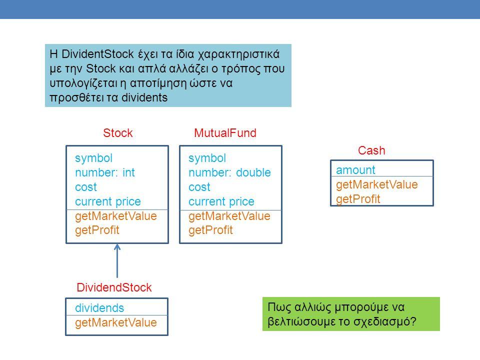 Cash amount getMarketValue getProfit symbol number: int cost current price getMarketValue getProfit Stock symbol number: double cost current price getMarketValue getProfit MutualFund dividends getMarketValue DividendStock Η DividentStock έχει τα ίδια χαρακτηριστικά με την Stock και απλά αλλάζει ο τρόπος που υπολογίζεται η αποτίμηση ώστε να προσθέτει τα dividents Πως αλλιώς μπορούμε να βελτιώσουμε το σχεδιασμό