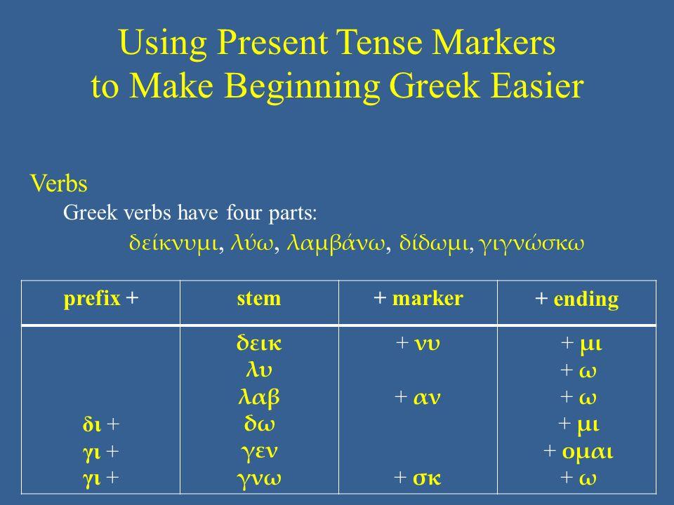 Using Present Tense Markers to Make Beginning Greek Easier prefix +stem+ marker+ ending δι + γι + δεικ λυ λαβ δω γεν γνω + νυ + αν + σκ + μι + ω + μι + ομαι + ω Verbs Greek verbs have four parts: δείκνυμι, λύω, λαμβάνω, δίδωμι, γιγνώσκω