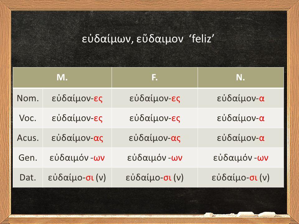 Estes adjetivos seguem a declinação dos substantivos de tema em –n.