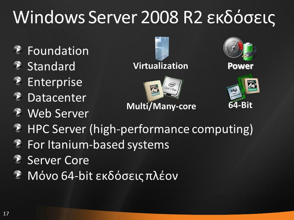 17 Windows Server 2008 R2 εκδόσεις Foundation Standard Enterprise Datacenter Web Server HPC Server (high-performance computing) For Itanium-based systems Server Core Μόνο 64-bit εκδόσεις πλέον Power Virtualization Multi/Many-core 64-Bit
