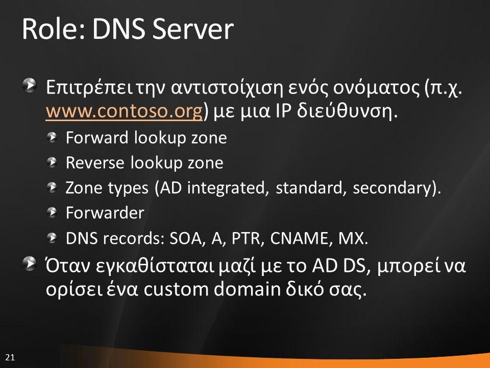 21 Role: DNS Server Επιτρέπει την αντιστοίχιση ενός ονόματος (π.χ. www.contoso.org) με μια IP διεύθυνση. www.contoso.org Forward lookup zone Reverse l